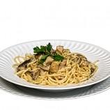Espaguettis con Setas a la Plancha