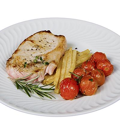 Ternera Blanca con Patatas Fritas y Tomatitos Especiados